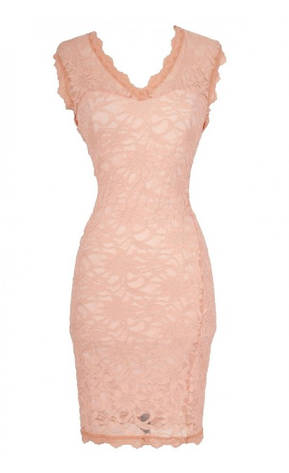 Larissa Lace Bodycon Dress in Peach