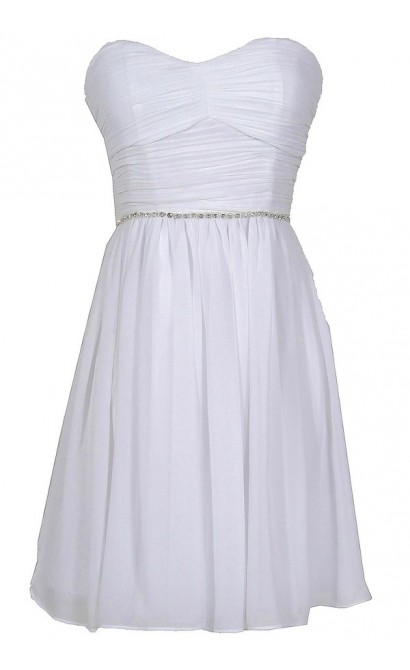 Time To Shine Rhinestone Embellished Chiffon Dress by Minuet in White