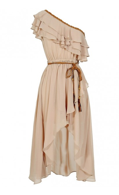Enchanted Forest One Shoulder Chiffon Dress in Beige