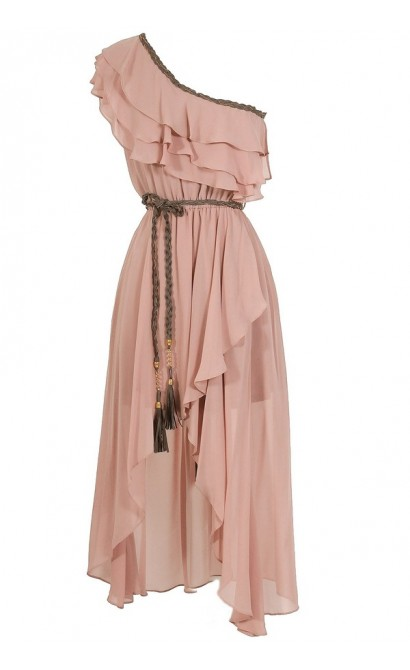 Enchanted Forest One Shoulder Chiffon Dress in Blush