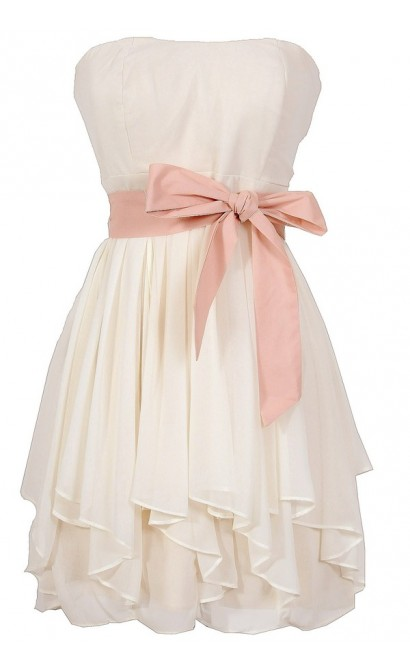 Ruffled Edges Chiffon Designer Dress in Ivory/Pink