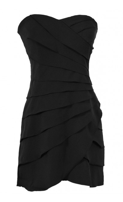 Lovely and Layered Tiered Designer Dress in Black