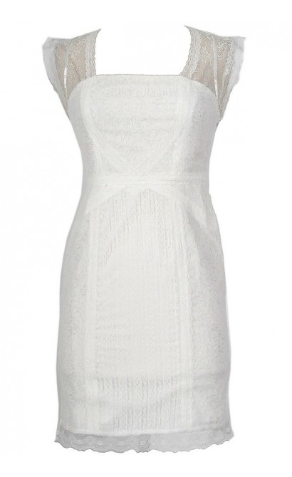 White Lace Designer Sheath Dress