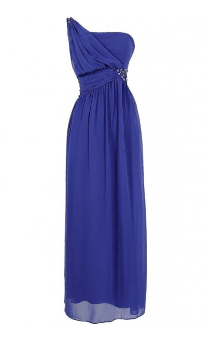 One Shoulder Embellished Maxi Dress in Blue