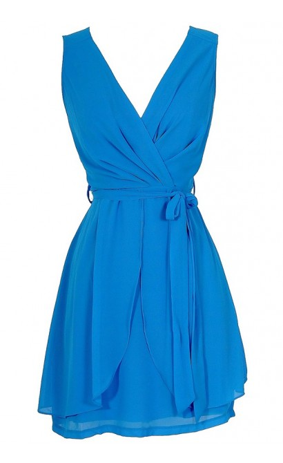 Tiptoe Through The Tulips Chiffon Dress in Blue
