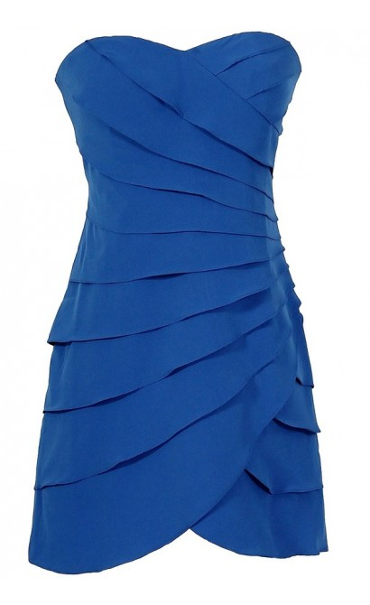 Lovely and Layered Tiered Designer Dress in Bright Blue