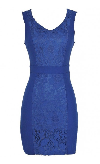 Center Stage Crochet Lace Pencil Dress in Blue