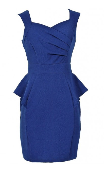 Network The Room Matelasse Peplum Dress in Royal Blue