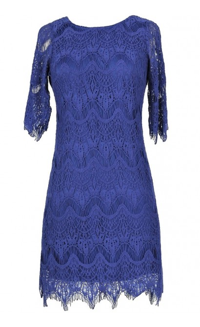 Vintage-Inspired Lace Overlay Dress in Bright Blue