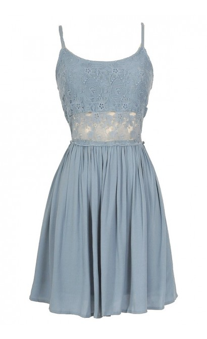 Peace and Love Crochet Floral Lace Dress in Powder Blue