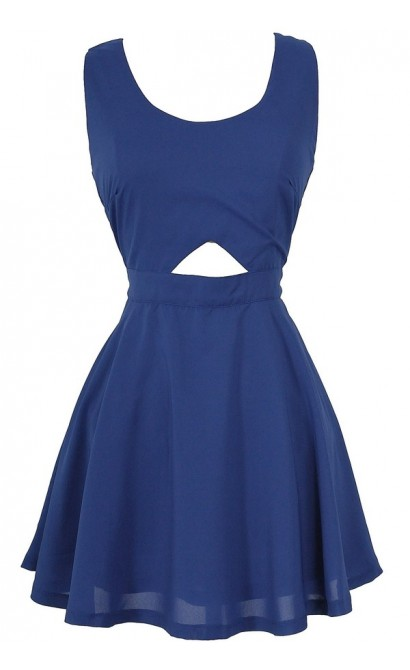 Cutout Fit and Flare Basket Weave Skater Dress in Blue