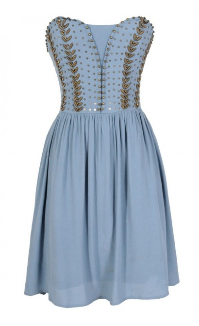 Antique Bronze Embellished Dress in Powder Blue