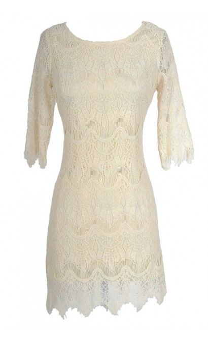 Vintage-Inspired Lace Overlay Dress in Beige