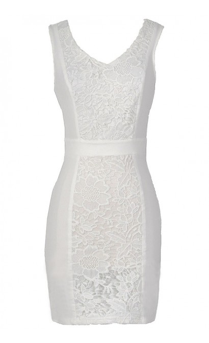 Center Stage Crochet Lace Pencil Dress in Ivory