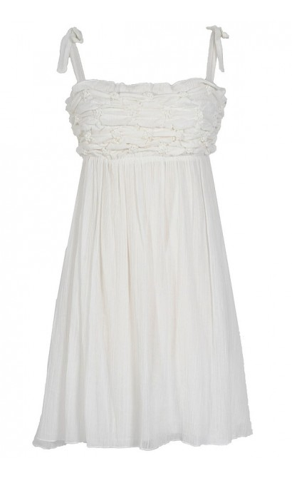 Not Tied Down Ivory Scrunch Dress