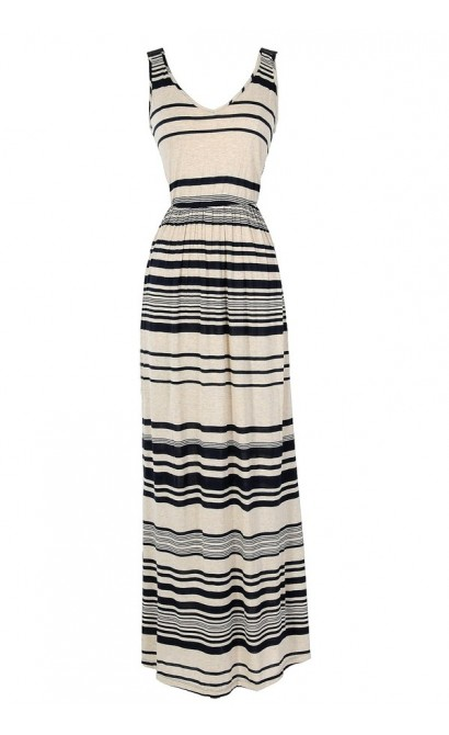 Oatmeal and Blueberries Stripe Maxi Dress