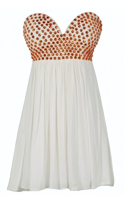 Bronze Age Studded White Chiffon Dress