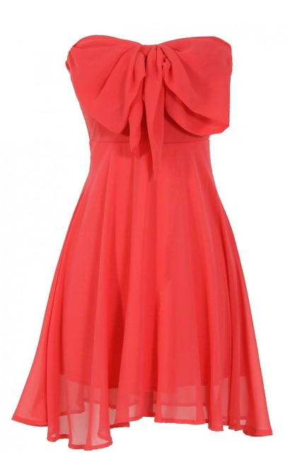 Oversized Bow Chiffon Dress in Coral