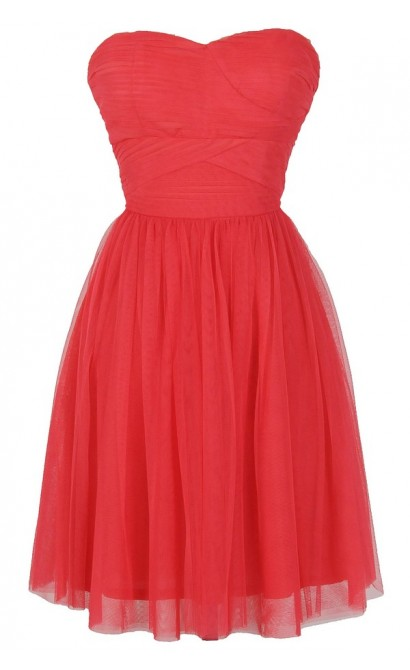 Fairy Tulle Strapless Dress by Ark and Co in Watermelon Coral