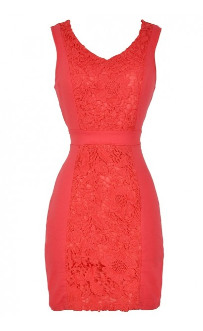 Center Stage Crochet Lace Pencil Dress in Coral