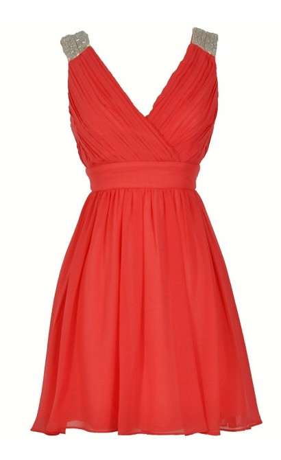 Stella Beaded Shoulder Chiffon Designer Dress in Coral
