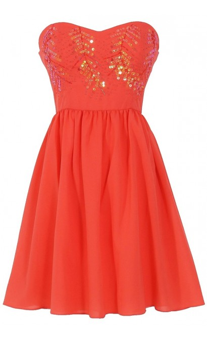 Branching Out Sequin Embellished Chiffon Designer Dress in Coral