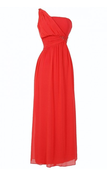 One Shoulder Embellished Maxi Dress in Coral