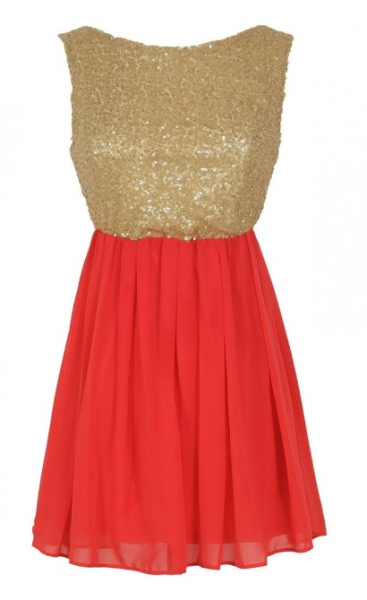Sequin and Chiffon Babydoll Top in Coral