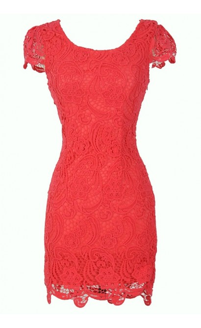 Nila Crochet Lace Capsleeve Pencil Dress in Coral