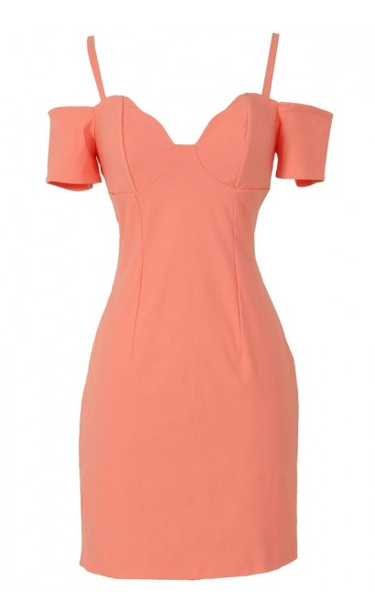 Cold Shoulder Bodycon Bustier Dress in Peach