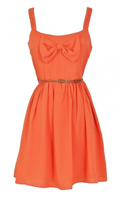 Country Concert Bow Front Dress in Rust Coral