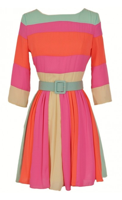 Rainbow Bright Belted Colorblock Designer Dress