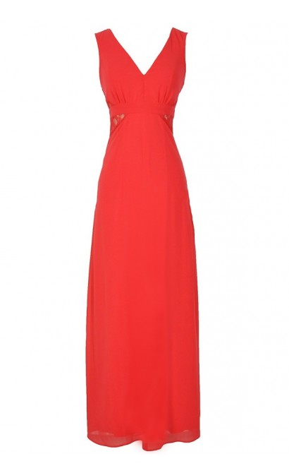 Last Night Chiffon Maxi Dress With Lace Insets in Coral