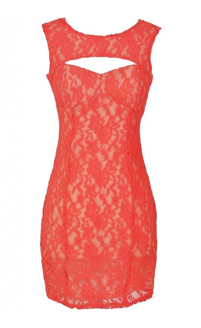 Lace Cutout Bustier Bodycon Designer Dress in Coral