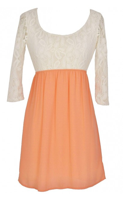 Sweet Caroline Dress in Ivory/Peach