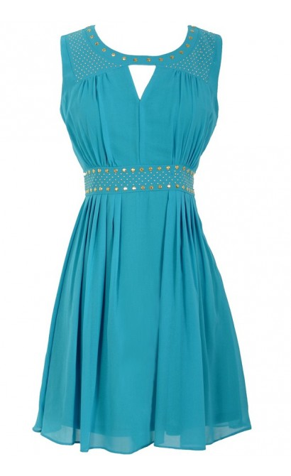 Gold Studded Chiffon Dress in Turquoise