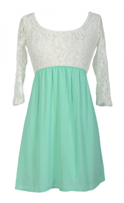 Sweet Caroline Dress in Ivory/Mint