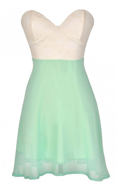 Strapless Floral Lace Bustier Dress in Ivory/Mint