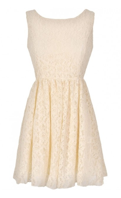 Sweet Life Lace Tie Back Dress in Ivory