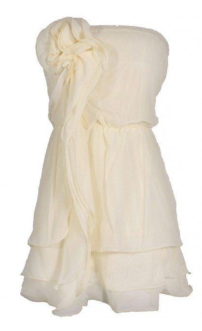 Rosette Waterfall Layered Ivory Blouson Dress