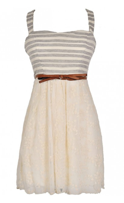 In Neutral Belted Embroidered Lace Dress