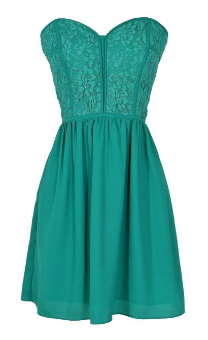 Sweetheart Strapless Dress in Teal