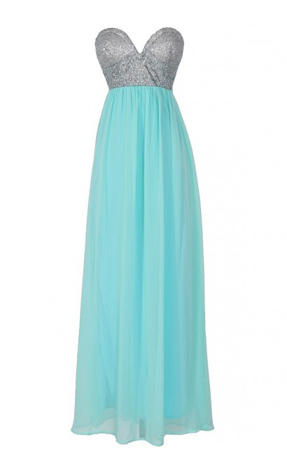 Mermaid For You Embellished Maxi Dress in Light Blue