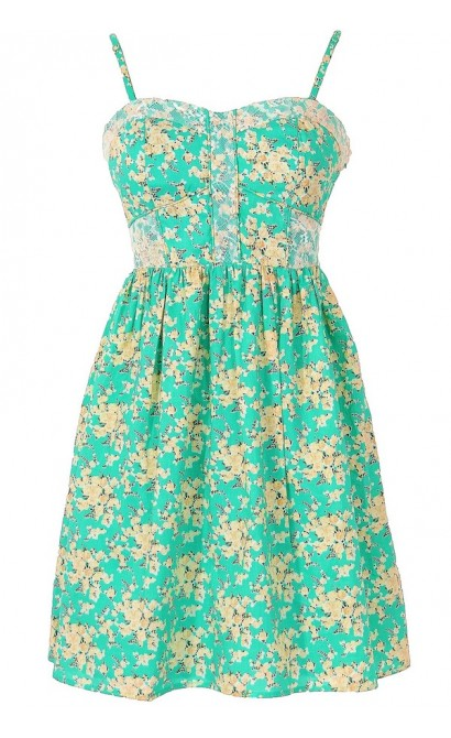 In Bloom Green and Beige Ditsy Floral Designer Dress