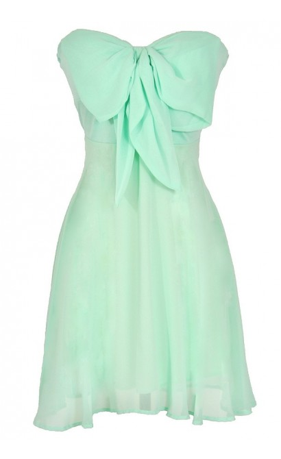 Oversized Bow Chiffon Dress in Mint