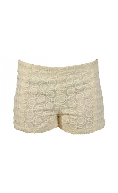 Circles In The Sand Embroidered Cream Shorts