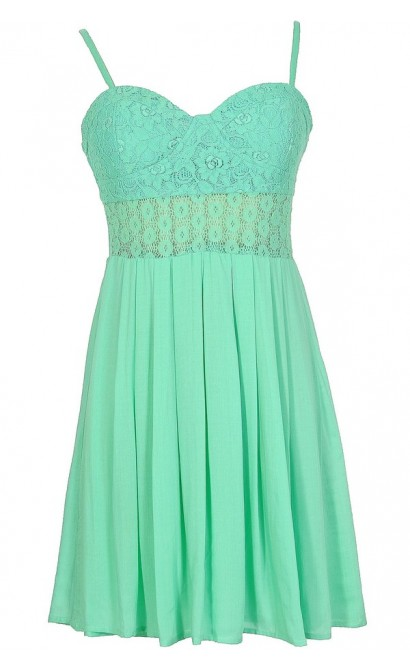 Our Song Lace Bustier Dress With Pleated Skirt in Mint