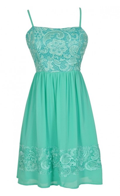 Best Days Ahead Lace and Chiffon Dress in Jade