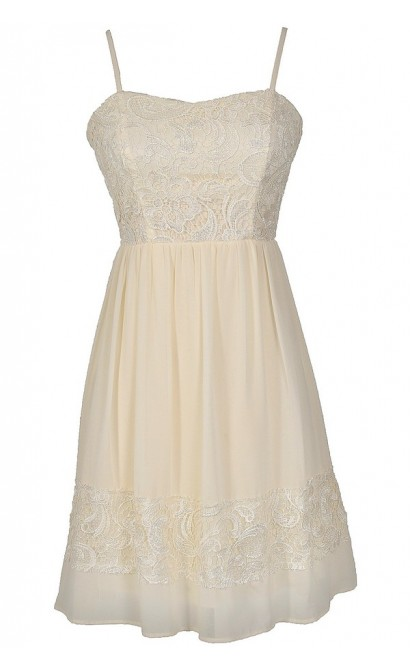 Best Days Ahead Lace and Chiffon Dress in Cream