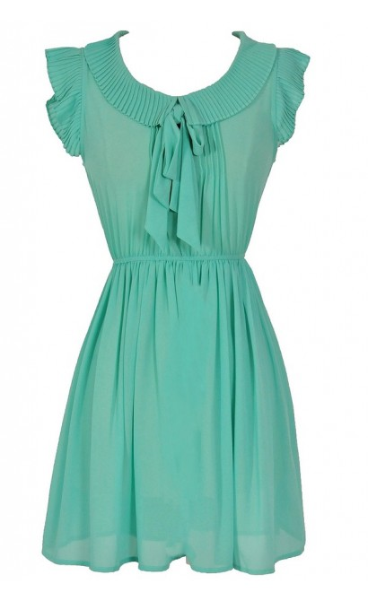 Pleated Collar Semi-Sheer Bow Neck Dress in Sea Green